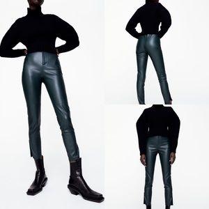 ZARA NWT Green Faux Leather Leggings Size M